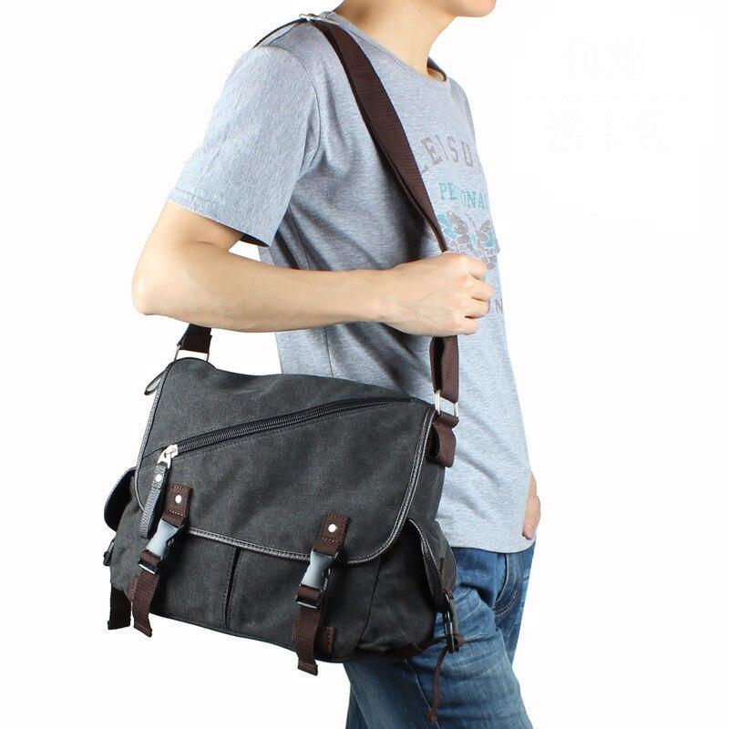 Hot High Quality Casual Mens Canvas Bag Zipper Shoulder Bags Men Messenger Crossbody Bag Travel Schoolbags<br>