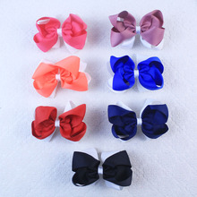 Lot 20pcs baby girl 4.5inch holidays party two tone grosgrain ribbon flat hairbows clips 2818 Y(China)