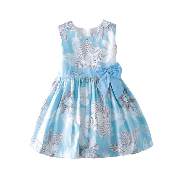 toddler girls dress 2019 summer girls fashaion new flower print bow cotton party tutu sundresses kids clothes 2-7Y