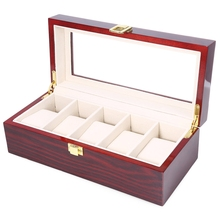 High Quality Watch Boxes 5 Grids Wooden Watch Display Piano Lacquer Jewelry Storage Organizer Jewelry Collections Case Gifts(China)