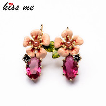 KISS ME 2017 Latest Shiny Elegant Gold Color Alloy Resin Flower Long Drop Earrings for Women Statement Jewelry Accessories(China)