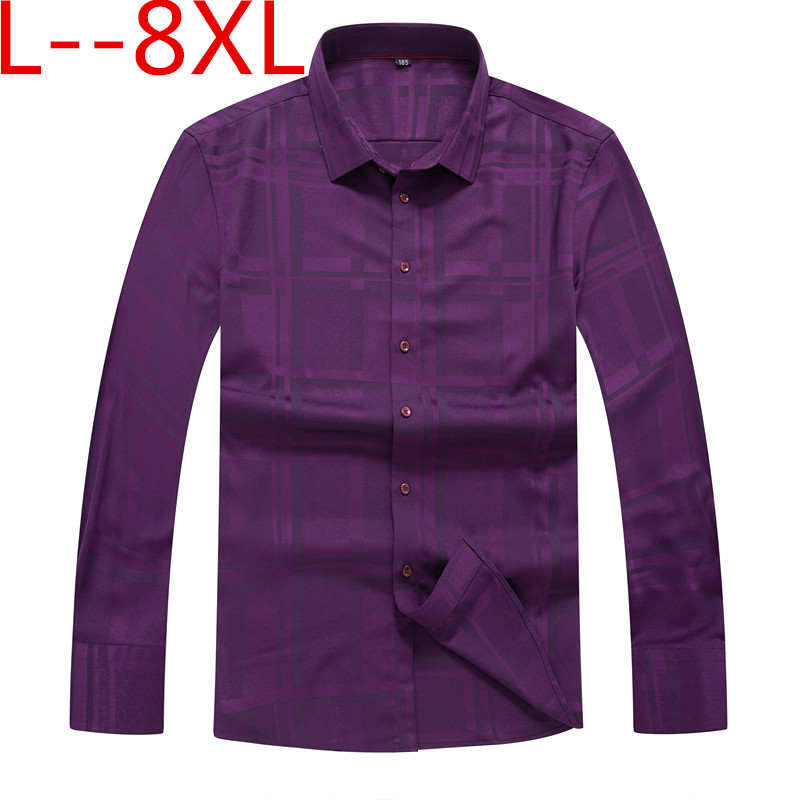 10xl 8xl 6xl Men's Long Sleeve Standard-fit print Basic Dress Shirt Patch Single Pocket Formal Social black Work Office Shirts