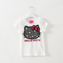 2016 kids girl clothes t-shirt whosale baby choses cotton kitty girl tops china cheap names top 100 children t shirts xst003 1ps(China)