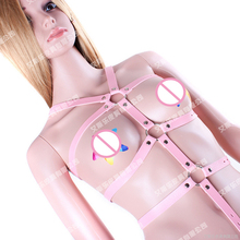 Pink Body Harness Bondage Restraints Adult Games Sex Products PU Leather Suit Women's Bondage Fetish Costume Open Bust Teddy