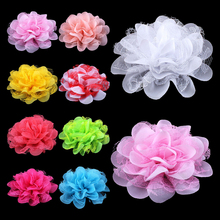 "120pcs/lot 4.1"" 17colors Shabby Lace Mesh Chiffon Flower For Kids Girls Hair Accessories Artificial Fabric Flowers For Headbands(China)"