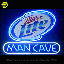 Miller Lite Man Cave Neon Sign Board Glass Tube Neon Recreation Handcrafted Indoor Frame Sign Store Display Iconic Light 24x20
