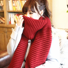 women winter scarves and wraps red cashmere knitted scarf for women italian large big scarf(China)
