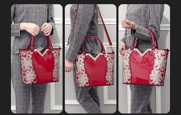 DOODOO Brand 2017 Women's Diagonal Bag Fashion Embroidery Bright Leather Women Bag Ladies Hand bags Large Capacity SAC A Main