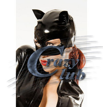 Crazy club_ Sex products Bodysuit erotic Latex Black nature rubber latex mask catwomen hood fetish party latex Free Shipping(China)