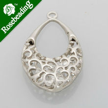 2014 HOT 32*19MM lovely modern charms,Purse with crystal beads,Matte Rhodium,suit for necklace/bracelet/earring ,sold 10pcs/pkg