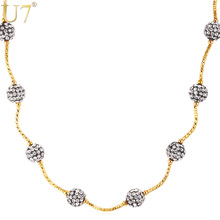 U7 Shamballa Stone Necklace Chain For Women Gold Color Fashion Jewelry Two Use Necklace/Bracelet Flexible Necklace N515(China)