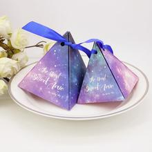 100pcs Blue and purple Starry sky wedding candy boxes favors packaging for guests party decoration supplies Pyramid