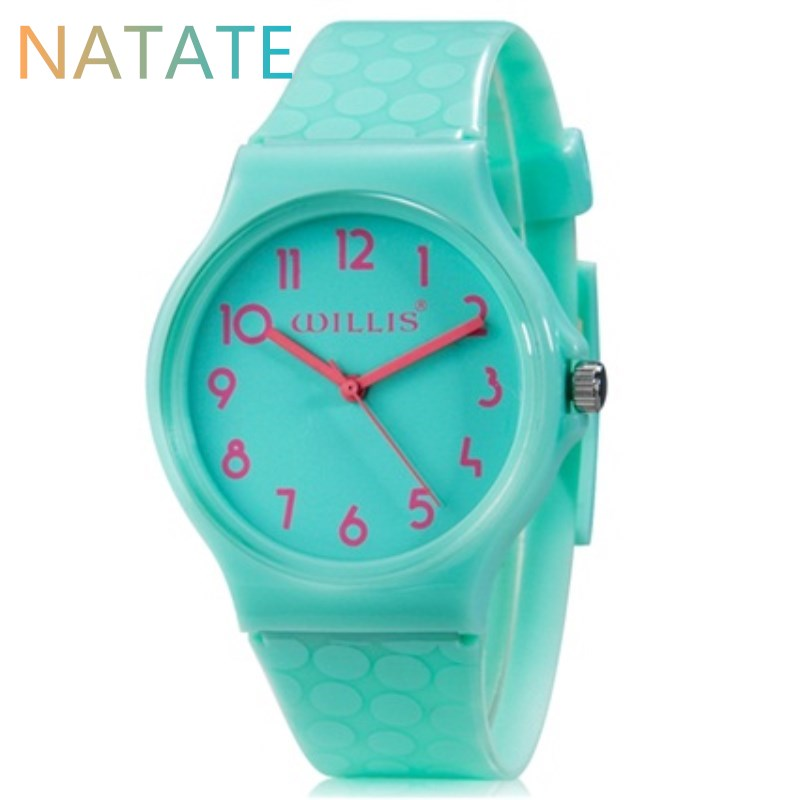 NATATE Hot Watch Willis Dot Pattern Design Fashion Water Resistant Silicone Strap Woman Dress Quartz Leisure WristWatch WH0024<br><br>Aliexpress