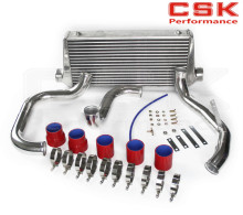 TURBO INTERCOOLER KIT FOR SKYLINE R32 GTS-T + RED SILICONE HOSE T-CLAMPS ALUMINUM PIPING KIT