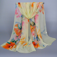 Girl's printe floral scarf/scarves georgette silk chiffon beach popular long spring muslim headband shawls/scarf 10pcs/lot 1031(China)