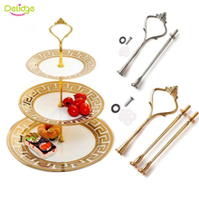 Delidg 1set Crown Design Cake Stand (Plate Not Included) Zinc Alloy 2-3 Layers Wedding Cake Plate Stand Cake Fruits Placed Tool(China)