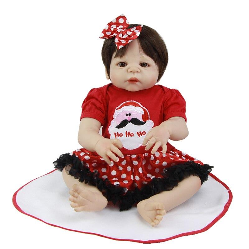 New Style 23 Inch Princess Baby Girl White Skin Full Body Silicone Vinyl Reborn Lifelike Dolls With Silk Wig Kids Christmas Gift<br><br>Aliexpress