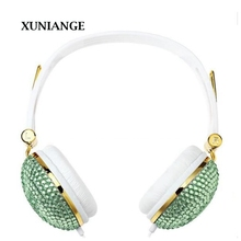 XUNIANGE 2017 hardcover Subwoofer Headset  Over  Mic Handcrafted For iPhone 4S 5 5s 6 6s Headphones Diamond earphone