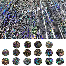 New Fashion 16 rolls/lot 4*20cm Laser Holographic Flower Geometry Pattern Rolls Nail Foil Set Transfer Foil Stickers & Decals(China)