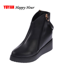 New 2017 Autumn Winter Shoes Women Boots Warm Plush Fashion Women's Boots Elegant Laides Brand Ankle Botas Black Zip ZH530