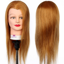 "100% Real Hair design Salon model 20"" European style Black Eyes Model For Hairdresser + Clamp #27(China)"