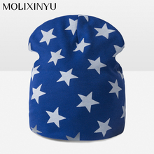 MOLIXINYU 2017 New Baby Children Bow Cotton Thick Cap Autumn Winter Star Pattern Hat Warm Comfortable Knitting Boy Cotton Hat