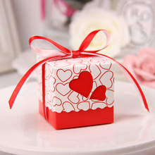 50pcs/lot 7*7*7cm Hollow Heart candy box for wedding invitations wedding gifts favor holiday Biscuit/ Cracker Boxes supplies