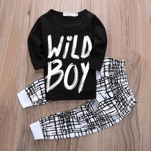 Newborn 2 Pcs Baby Boy Casual Clothes Long Sleeve Letter Print Top + Pants Suit Infant Clothing Set(China)