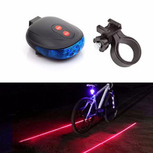 New Portable 2 Laser +5 LED Flashing Lamp Rear Light Cycling Bicycle Bike Tail Safety Blue Bike Light Accessories