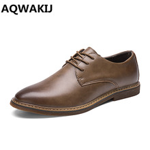AQWAKIJ usiness Men's Basic Flat Super fiber Leather Gentle Wedding Dress Shoes Luxury Brand Formal Wearing British Big(China)