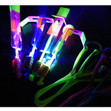 Luminous Big Slingshot Catapult Arrows Flying Fairies Flash Helicopter Flying LED Light Emitting Children's Outdoor Gaming Toys