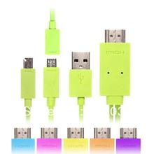 For HTC One Series Green 2M MHL Mirco USB to HDMI Cable Adapter for Samsung Galaxy S2/S3/S4 I9500/I9300 Note 2 For LG For Sony