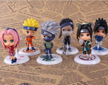 Naruto Cosplay Haruno Sakura Hatake Kakashi Q Version 7cm/2.8'' PVC Garage Kits Action Figures Toys Model 6Pcs/Set