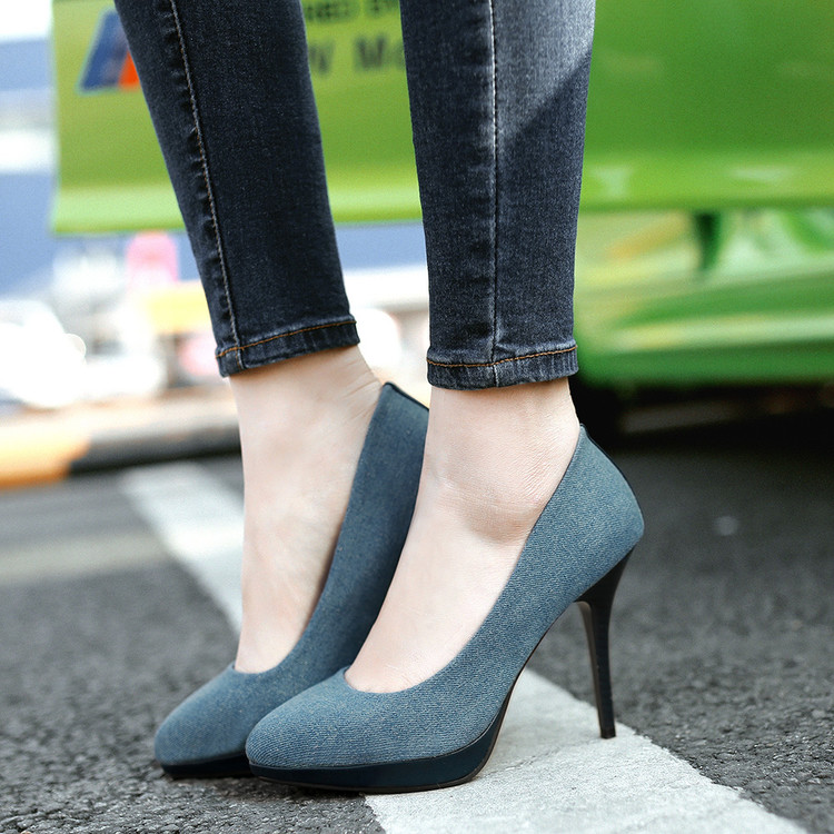 women high heel shoes pointed jean cloth thin heel lady pumps wedding evening work shoes plus size big size 9#<br><br>Aliexpress