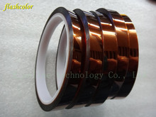 Flashcolor 5 Rolls Wholesales 10mm*33m Heat Resistant Kapton Tape for Sublimation Transfer Thermal Polyimid Tape