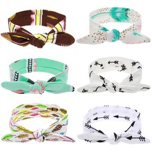 1PC DIY Lovely Girls Bow Knot Floral Headband Hairband Rabbit Ear Feather Arrow Print Head Wrap Hair Band Accessories(China)