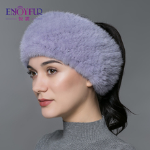 ENJOYFUR winter fur headbands for women Knitted natural mink fur scarf thick warm women fur headwraps new fashion fur scarves(China)