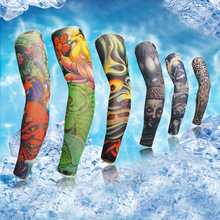 Tattoo Cuff Arm Sleeve Seamless Men And Women Summer Sunscreen Hand Sleevelet Sewing Cycling Male Ice Silk Sleeves