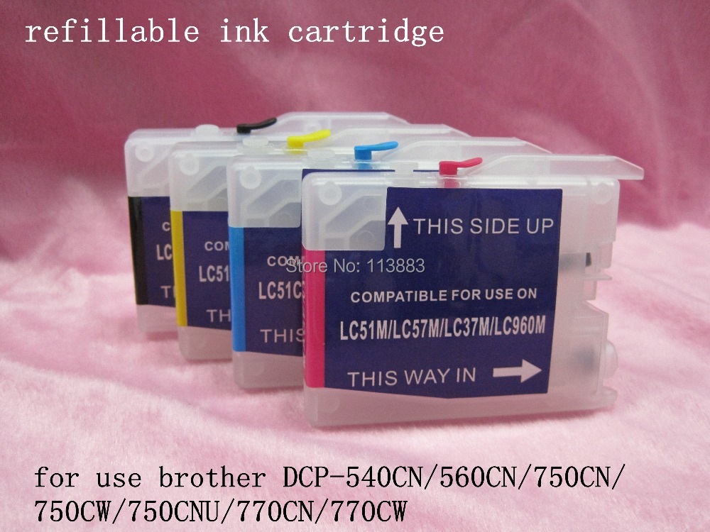 4 ink For brother LC10/LC37/LC51/LC57/LC960/LC970/LC1000  refillable ink cartridge DCP-540CN/560CN/750CN/750CW/750CNU/770CN<br><br>Aliexpress