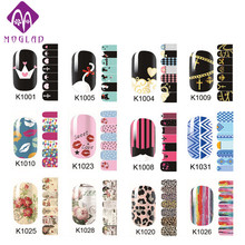 NEW 2sheets/lot Cartoon Flowers adhesive Nail Stickers Nail Tips Wraps,DIY Nail Beauty Supplies,Nail Patch Art Decoration Tool