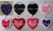 "Free USA ePacket/CPAP 30y/300pcs 3"" Chiffon Rosette Hearts,Shabby Chic Chiffon Heart Appliques,Hair Accessories 18 colors"
