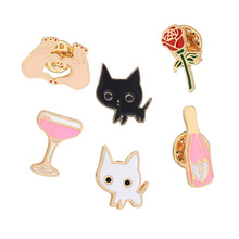 Fashion Cute Cartoon Pins Set  Cat Finger Heart  Rose Flower Glasses Enamel Brooches Lapel Pins Badge For Girls Clothing Bag