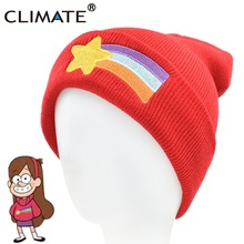 CLIMATE Girls Women Winter Warm Hat Gravity Falls Dipper Mabel Pines Red Knit Beanie Shooting Star Anmation Nice Red Acrylic Hat(China)