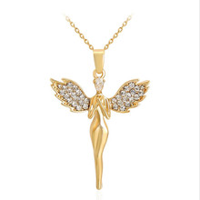 Top Angel Wings Pendants Necklace for women gold color Jewelry inlay AAA Zircon accessory Valentines gift free shipping MSN058(China)