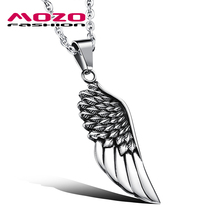 Fashion Male Necklace Stainless Steel Angel Wings Pendant Choker Necklace Colar Collares Men Charm Jewelry Accessories MGX1103