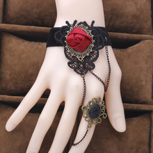 Vintage Gothic Big Rose Flower Black Lace Bracelets Women Party Jewelry Vampire Cosplay Hand Wristbands 2B309