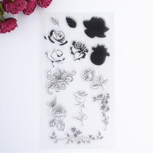 2016 New Scrapbook DIY Photo Album Cards Transparent Acrylic Silicone Rubber Clear Stamps Sheet Flower(China)