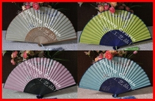 20pcs/lot Chinese Style Snow Plum Flowers Printing Silk Folding Fan Bamboo Made Hand Fan Wedding/Home/Party Decors Fan