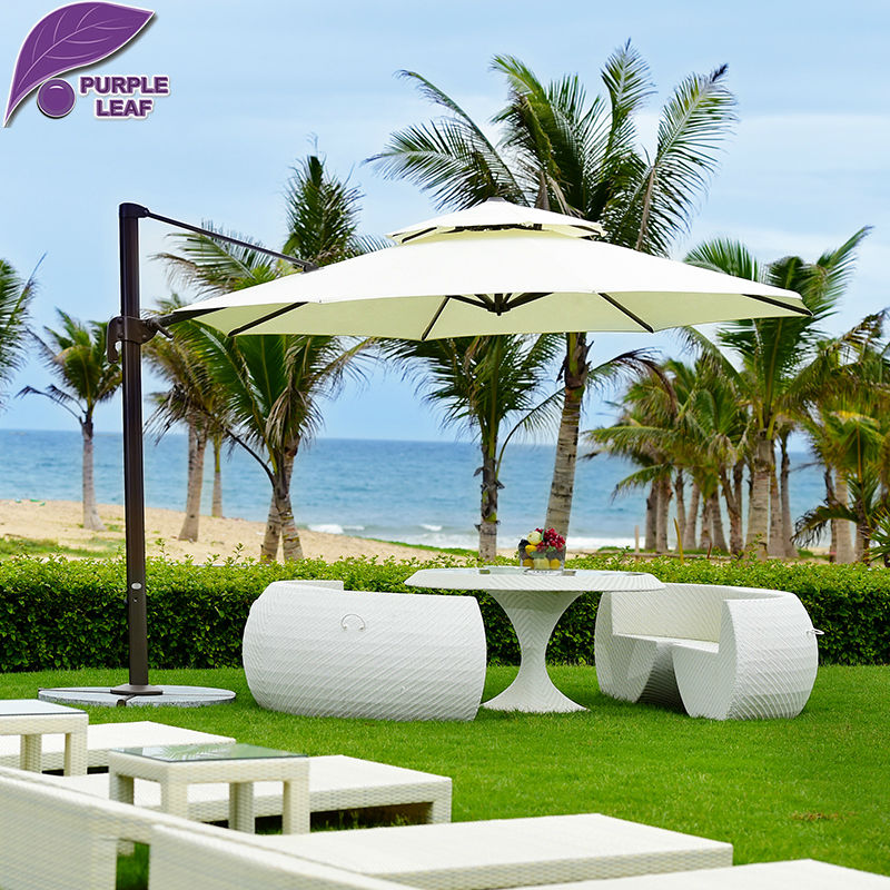 Purple Leaf Patio Umbrella Offset Outdoor Market Beach Cafe Parasol Round Square Uv Resistant Cross Base In Umbrellas Bases From Furniture