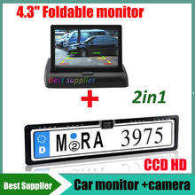 Car Parking Rear View number plate camera with led light with EU European Car License Plate Frame + 4.3'' Car monitor